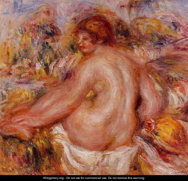 After Bathing Seated Female Nude - Pierre Auguste Renoir