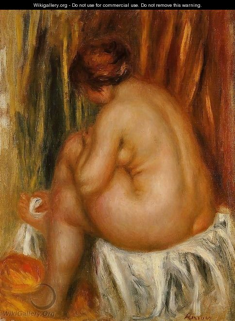 After Bathing (nude Study) - Pierre Auguste Renoir