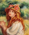 Blond In A Straw Hat Aka Seated Girl - Pierre Auguste Renoir