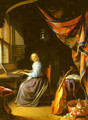 A Woman Playing A Clavichord - Gerrit Dou