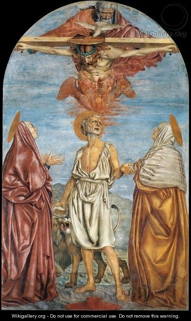 The Holy Trinity St Jerome And Two Saints 1453 - Andrea Del Castagno