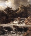 Waterfall with Castle Built on the Rock c. 1665 - Jacob Van Ruisdael