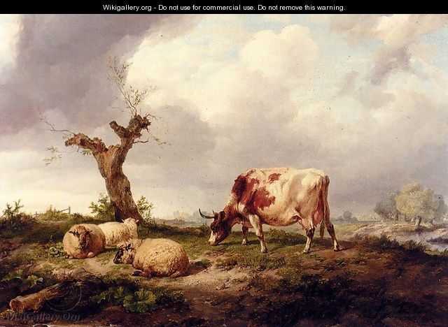 A Cow With Sheep In A Landscape - Thomas Sidney Cooper