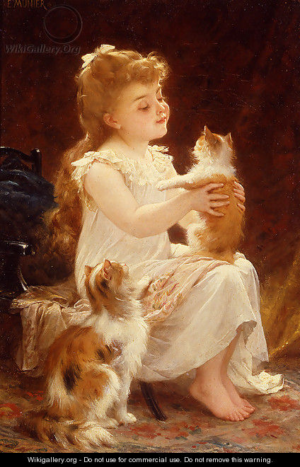 Playing With The Kitten - Emile Munier