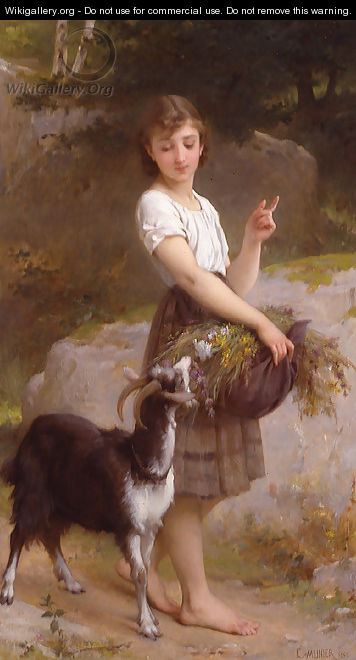 Young Girl With Goat & Flowers - Emile Munier