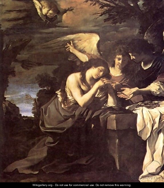 Magdalen And Two Angels 1622 - Giovanni Francesco Guercino (BARBIERI)