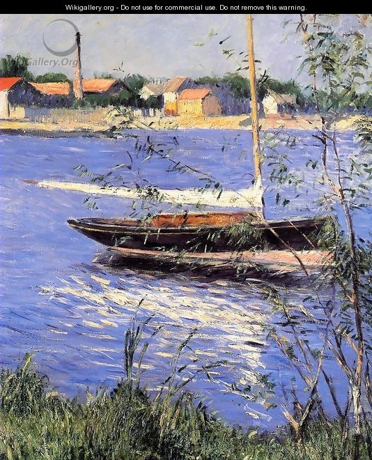 Anchored Boat On The Seine At Argenteuil - Gustave Caillebotte