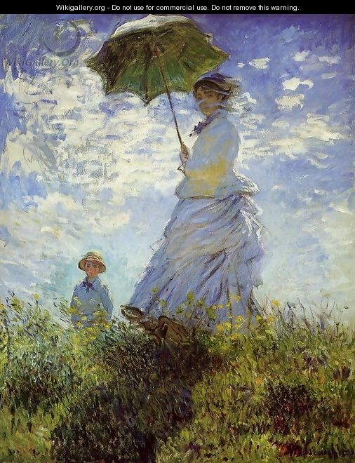 The Walk Woman With A Parasol - Claude Oscar Monet