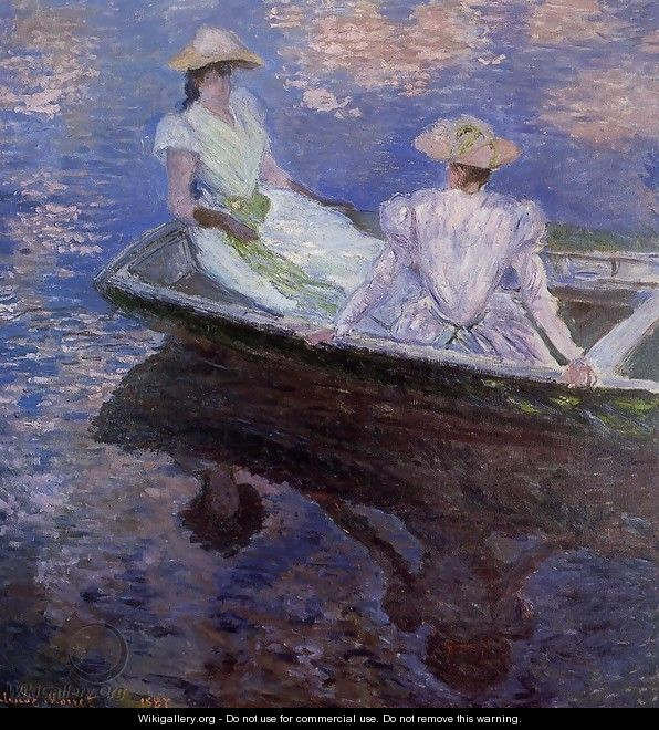 Young Girls In A Row Boat - Claude Oscar Monet