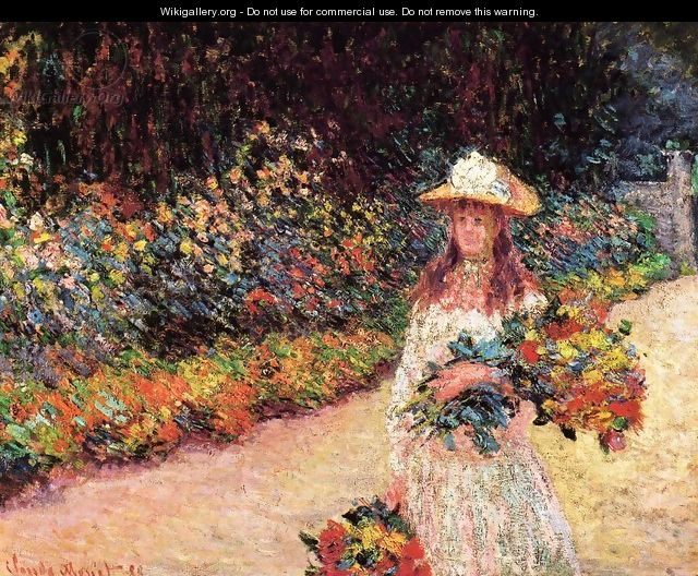 Young Girl In The Garden At Giverny - Claude Oscar Monet