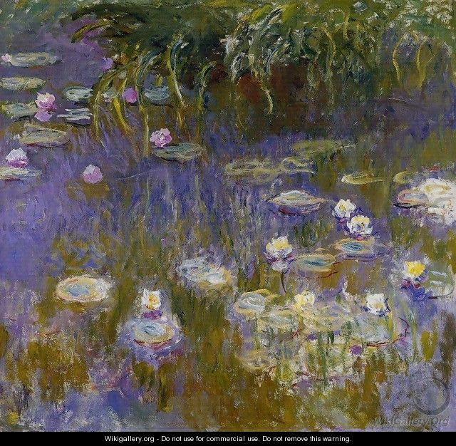 Yellow And Lilac Water Lilies - Claude Oscar Monet