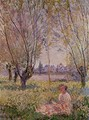 Woman Sitting Under The Willows - Claude Oscar Monet
