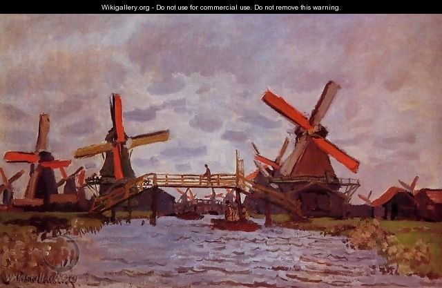 Windmills Near Zaandam - Claude Oscar Monet