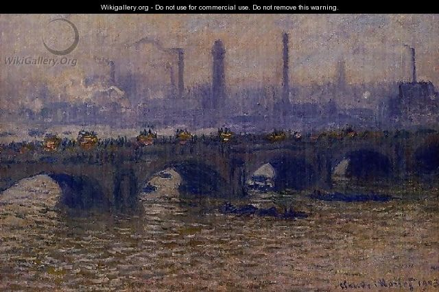Waterloo Bridge Grey Weather - Claude Oscar Monet