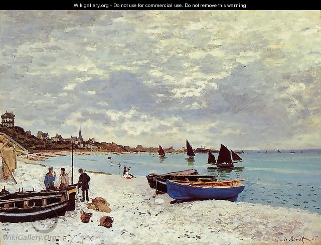 The Beach At Sainte Adresse - Claude Oscar Monet