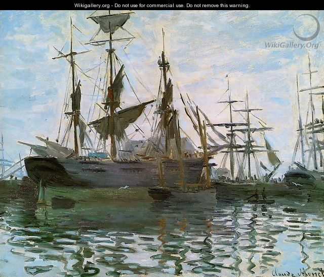 Study Of Boats Aka Ships In Harbor - Claude Oscar Monet