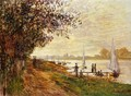 The Riverbank At Le Petit Gennevilliers Sunset - Claude Oscar Monet