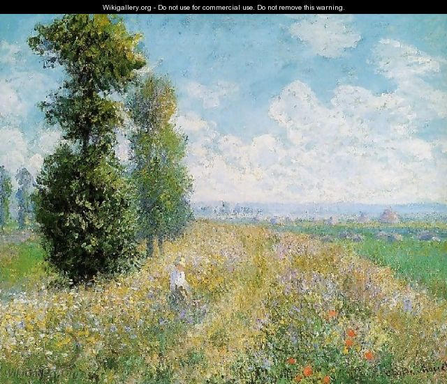 Meadow With Poplars Aka Poplars Near Argenteuil - Claude Oscar Monet