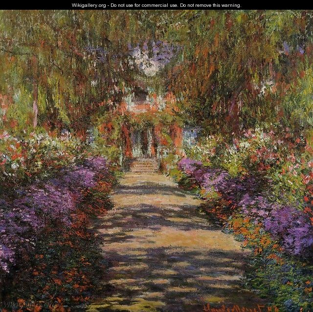 Pathway In Monets Garden At Giverny - Claude Oscar Monet