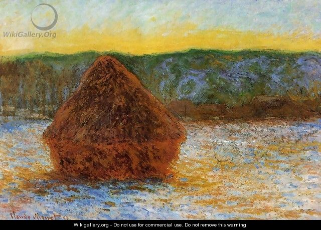 Grainstack Thaw Sunset - Claude Oscar Monet
