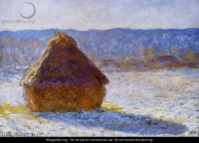 Grainstack In The Morning Snow Effect - Claude Oscar Monet