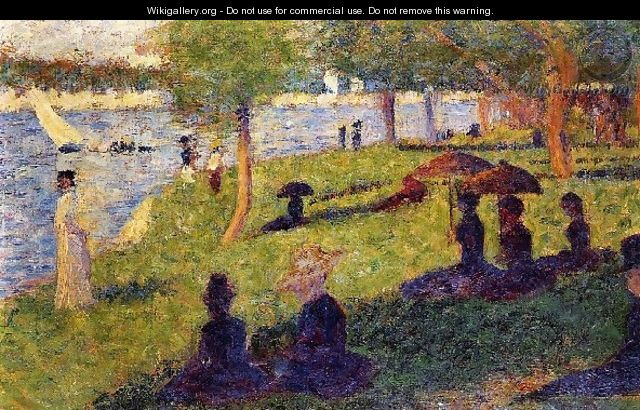 Woman Fishing And Seated Figures - Georges Seurat