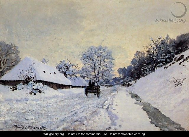 A Cart On The Snow Covered Road With Saint Simeon Farm - Claude Oscar Monet