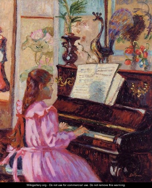 Young Girl At The Piano - Armand Guillaumin