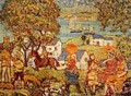 Landscape Figures Cottages And Boats - Maurice Brazil Prendergast