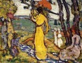 Lady In Yellow Dress In The Park Aka A Lady In Yellow In The Park - Maurice Brazil Prendergast
