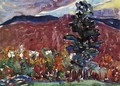 Village Against Purple Mountain - Maurice Brazil Prendergast