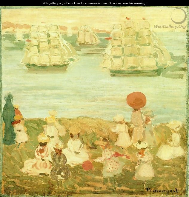The Pretty Ships Aka As The Ships Go By - Maurice Brazil Prendergast