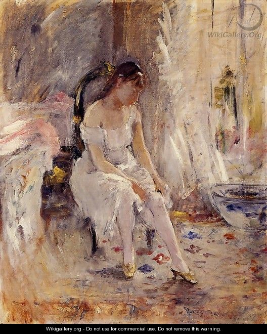 Woman Getting Dressed Aka Young Woman Fastening Her Stockings - Berthe Morisot