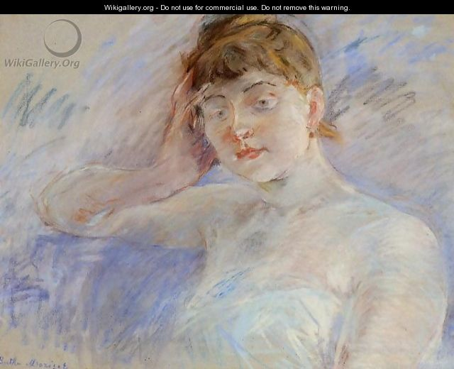 Young Woman In White Aka Isabelle Lemmonier - Berthe Morisot