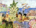 Fantasy Aka Fantasy With Flowers Animals And Houses - Maurice Brazil Prendergast