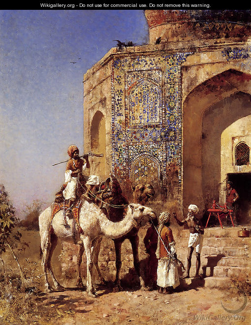 Old Blue Tiled Mosque Outside Of Delhi India - Edwin Lord Weeks
