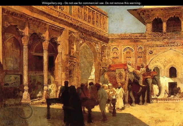 Elephants And Figures In A Courtyard Fort Agra - Edwin Lord Weeks