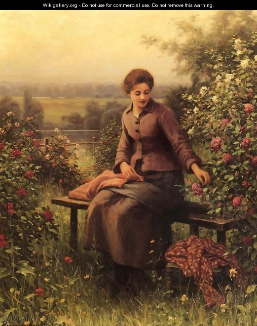Seated Girl With Flowers - Daniel Ridgway Knight