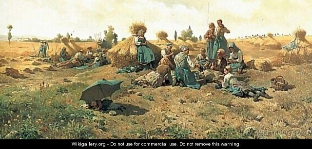 Peasants Lunching In A Field - Daniel Ridgway Knight