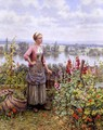 Maria On The Terrace With A Bundle Of Grass - Daniel Ridgway Knight
