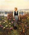 Girl With A Basket In A Garden - Daniel Ridgway Knight