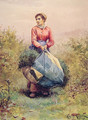 Gathering Leaves - Daniel Ridgway Knight