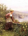 Brittany Girl Overlooking Stream - Daniel Ridgway Knight