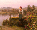 A Woman With A Watering Can By The River - Daniel Ridgway Knight