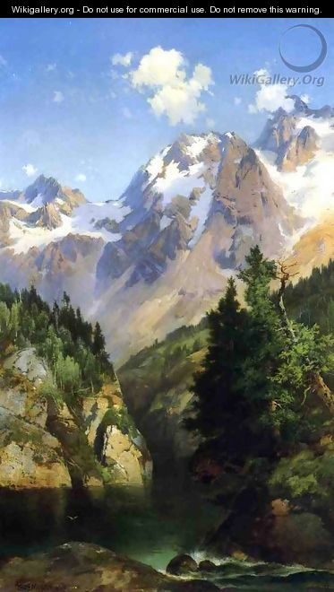 A Rocky Mountain Peak Idaho Territory - Thomas Moran