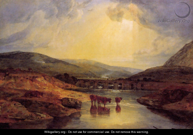 Abergavenny Bridge Monmountshire Clearing Up After A Showery Day - Joseph Mallord William Turner