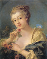 Young Woman With A Bouquet Of Roses - François Boucher