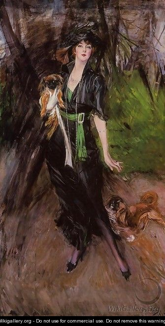 Portrait Of A Lady Lina Bilitis With Two Pekinese - Giovanni Boldini