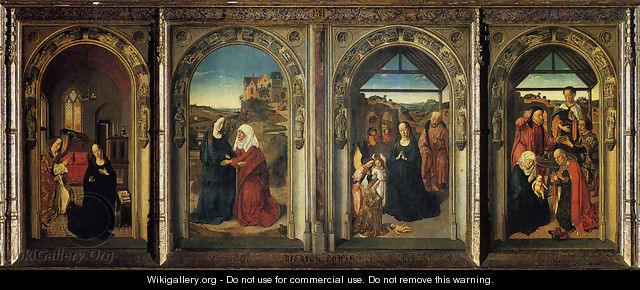 Polyptych Showing The Annunciation The Visitation The Adoration Of The Angels And The Adoration Of The Kings - Dieric the Elder Bouts