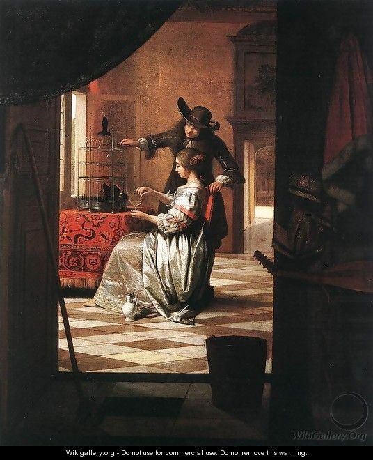 Couple with Parrot 1668 - Pieter De Hooch